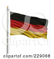 Royalty Free RF Clipart Illustration Of The Flag Of Germany Waving On A Pole by stockillustrations