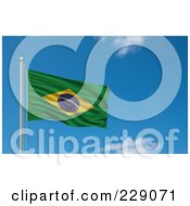 Royalty Free RF Clipart Illustration Of The Flag Of Brazil Waving On A Pole Against A Blue Sky