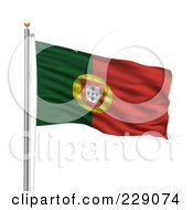 Royalty Free RF Clipart Illustration Of The Flag Of Portugal Waving On A Pole