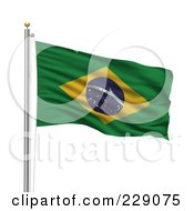 Royalty Free RF Clipart Illustration Of The Flag Of Brazil Waving On A Pole