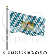Royalty Free RF Clipart Illustration Of The Flag Of Bavaria Waving On A Pole