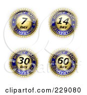 Royalty Free RF Clipart Illustration Of A Digital Collage Of Four Gold And Blue Money Back Guarantee Seals