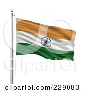The Flag Of India Waving On A Pole