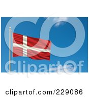 Royalty Free RF Clipart Illustration Of The Flag Of Denmark Waving On A Pole Against A Blue Sky