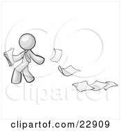 Clipart Illustration Of A White Man Dropping White Sheets Of Paper On A Ground And Leaving A Paper Trail Symbolizing Waste by Leo Blanchette