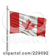 Royalty Free RF Clipart Illustration Of The Flag Of Canada Waving On A Pole