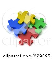 Royalty Free RF Clipart Illustration Of Four Colorful 3d Puzzle Pieces Connected