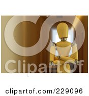 Royalty Free RF Clipart Illustration Of A 3d Wooden Mannequin Standing With His Arms Folded In A Hallway