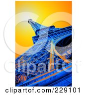 Royalty Free RF Clipart Illustration Of A Lower View Of A Pop Art Styled Eiffel Tower And Sunny Sky