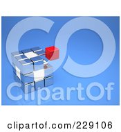 Royalty Free RF Clipart Illustration Of A Floating Red Cube Above A Silver And White Cube On Blue