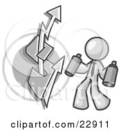 Clipart Illustration Of A White Business Man Spray Painting A Graffiti Dollar Sign On A Wall