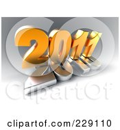 Royalty Free RF Clipart Illustration Of A 3d Golden New Year 2011 On Top Of A Silver 2010 On A Gray Background by chrisroll