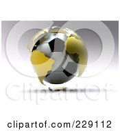 3d Gold Globe Around A Soccer Ball On A Shaded Gray Background