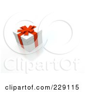Royalty Free RF Clipart Illustration Of A 3d White Gift Box With Red Ribbons And Bow by chrisroll