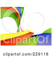 Royalty Free RF Clipart Illustration Of A 3d Curving Rainbow Wave Background Over White by chrisroll