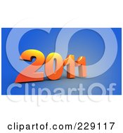 Royalty Free RF Clipart Illustration Of A 3d Blue New Year 2011 On A Brown Background