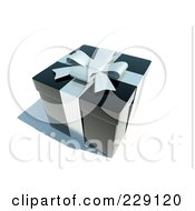 Royalty Free RF Clipart Illustration Of A 3d Black Gift Box With White Ribbons And Bow by chrisroll