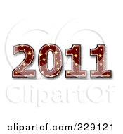 Royalty Free RF Clipart Illustration Of A 3d Red Starry New Year 2011 by chrisroll