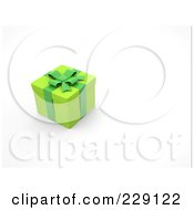 Royalty Free RF Clipart Illustration Of A 3d Green Gift Box With Green Ribbons And Bow by chrisroll
