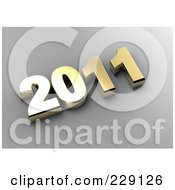 Royalty Free RF Clipart Illustration Of A 3d Golden New Year 2011 On A Gray Background by chrisroll