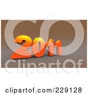 Royalty Free RF Clipart Illustration Of A 3d Orange New Year 2011 On A Brown Background