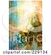 Royalty Free RF Clipart Illustration Of A Distressed Binary Code And Wave Background
