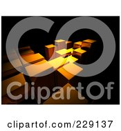 Royalty Free RF Clipart Illustration Of A Background Of Tall Golden Bars Over Black by chrisroll