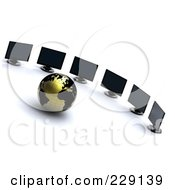 3d Gold And Black Globe Facing Computer Screens