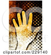 Rusted Grungy Background Of A Human Hand And Halftone
