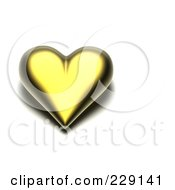 Royalty Free RF Clipart Illustration Of A 3d Gold Heart With A Dark Shadow by chrisroll