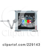 Royalty Free RF Clipart Illustration Of A 3d Digital Display On An Adjustable Hinge