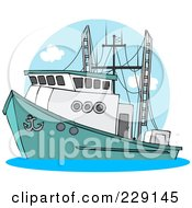 Royalty Free RF Clipart Illustration Of A Trawler Fishing Boat At Sea 2
