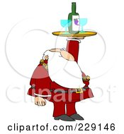Santa Holding Up A Wine Tray With Glasses