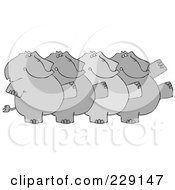 Royalty Free RF Clipart Illustration Of A Chorus Line Of Elephants Dancing by djart