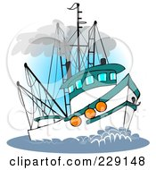Royalty Free RF Clipart Illustration Of A Trawler Fishing Boat At Sea 3 by Dennis Cox