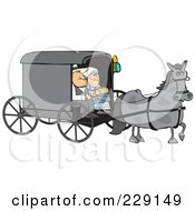 Royalty Free RF Clipart Illustration Of A Gray Horse Pulling A Couple In An Amish Buggy