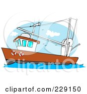 Royalty Free RF Clipart Illustration Of A Trawler Fishing Boat At Sea 1 by Dennis Cox