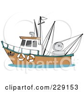 Royalty Free RF Clipart Illustration Of A Trawler Fishing Boat At Sea 4 by Dennis Cox
