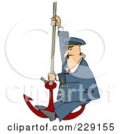 Royalty Free RF Clipart Illustration Of A Captain Swinging On An Anchor by djart