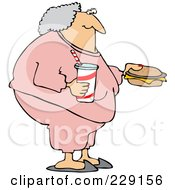 Royalty Free RF Clipart Illustration Of A Fat Granny In Pink Sweats Carrying A Soda And Cheeseburger by djart