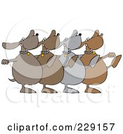 Royalty Free RF Clipart Illustration Of A Chorus Line Of Dancing Dogs by djart