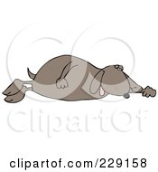 Royalty Free RF Clipart Illustration Of A Tired Dog Sleeping On His Side