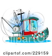 Royalty Free RF Clipart Illustration Of A Trawler Fishing Boat At Sea 5