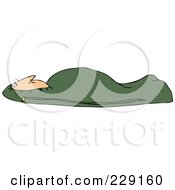 Royalty Free RF Clipart Illustration Of A Man Tucked In A Green Mummy Sleeping Bag