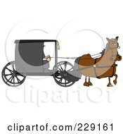 Royalty Free RF Clipart Illustration Of A Brown Horse Pulling An Amish Buggy