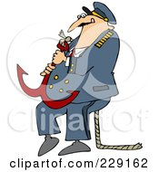 Royalty Free RF Clipart Illustration Of A Captain Carrying A Heavy Anchor