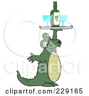 Royalty Free RF Clipart Illustration Of An Alligator Holding Up A Wine Tray With Glasses by djart