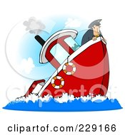 Royalty Free RF Clipart Illustration Of A Captain On A Sinking Boat