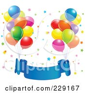 Royalty Free RF Clipart Illustration Of Bundles Of Party Balloons Tied To A Blue Birthdday Banner Over Colorful Stars by Pushkin