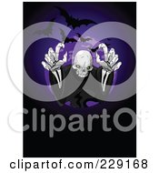 Royalty Free RF Clipart Illustration Of A Creepy Skeleton Ghost Reaching Outwards With Bats And A Full Moon On Purple And Black